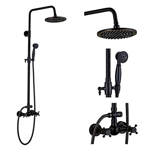 Oil Rubbed Bronze Rain Shower System Set 2 Knobs Mixing 8 Inch Rainfall Shower Head with Handheld Spray Bathroom Shower Faucet