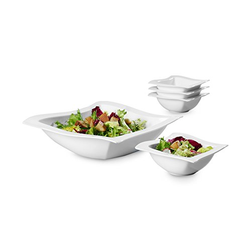 New Wave 5 Piece Salad Set by Villeroy & Boch - Premium Porcelain - Made In Germany - Dishwasher and Microwave Safe