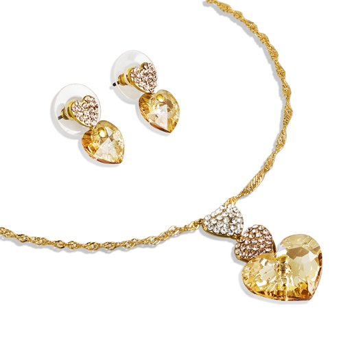 Diy Halloween Costume Trios (14K Gold Plated 3 Hearts Trio Pendant Necklace and Matching Earrings Set - Silk Topaz, Janeo Jewellery)