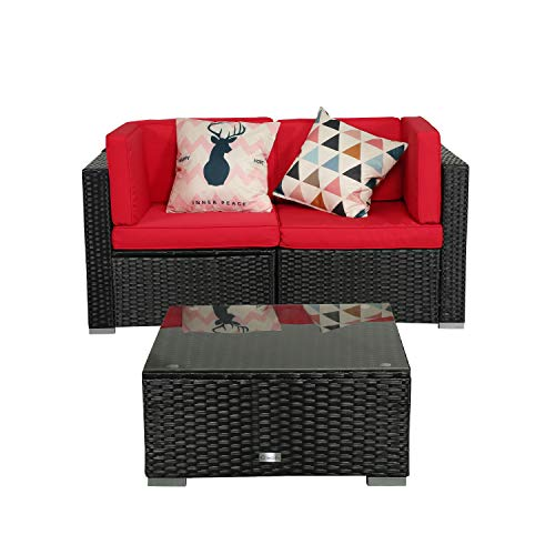 eclife Patio Loveseats Wicker Sectional Corner Sofa Rattan Outdoor Cotton Sofa Set (Red, Loveseat W/Tea Table)