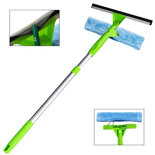 Window Squeegee Cleaner 3 in 1 Kit, Detachable Microfiber Brush and Squeegee Scrubber Can Used Separately with Aluminum Alloy Extension Pole for Shower Glass Solar Panels Glass Mirrors Auto ITTAHO (Washer Window)