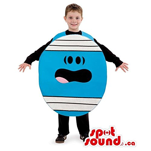 Blue Mr. Men Cartoon Character Children Size Plush Costume