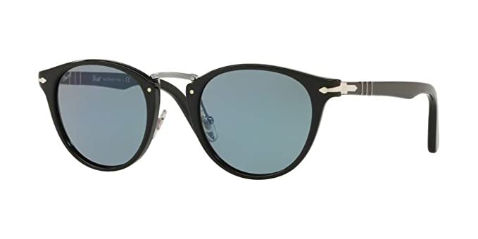 60110c1b6e Amazon.com  Persol PO3108S - 95 56 Sunglasses Black w  Light Blue ...