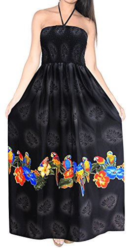 LA LEELA Soft  Printed Hawaiian Tube Dresses Luau Length Knee Black 366 One -