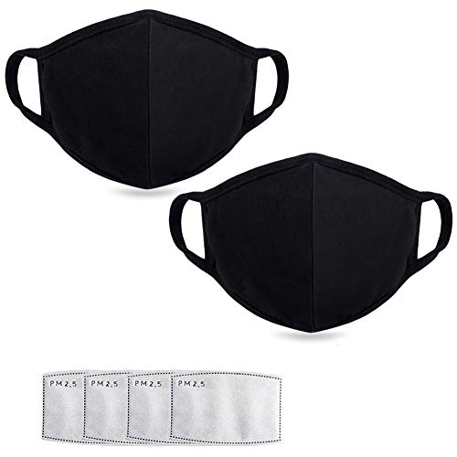 Anti Air Dust Masks and Smoke Pollution Mask - Reusable Washable Comfy - Anti Flu Activated Carbon N95 N99 PM2.5 Filters for Allergy for Women Man Black (2PCS black with 4 filter)