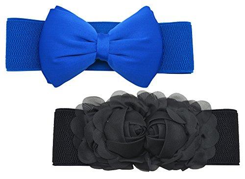 Rose Flower Belt Buckle - Meta-U Women Flower Elastic Wide Waist Belt (black rose & blue bow)