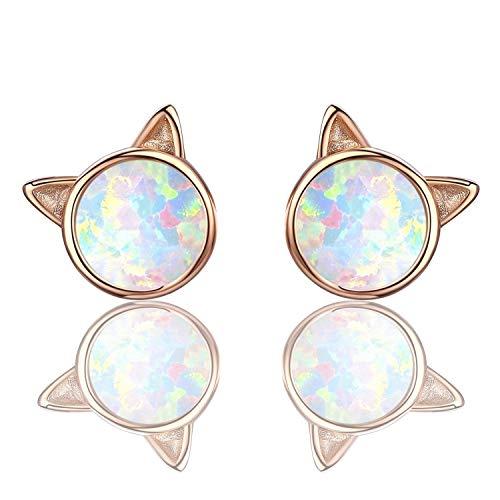 (BeBePo Opal Earrings Gold Cat Earring Studs Kitten Earrings Cute Earrings Dainty Little Earrings for)