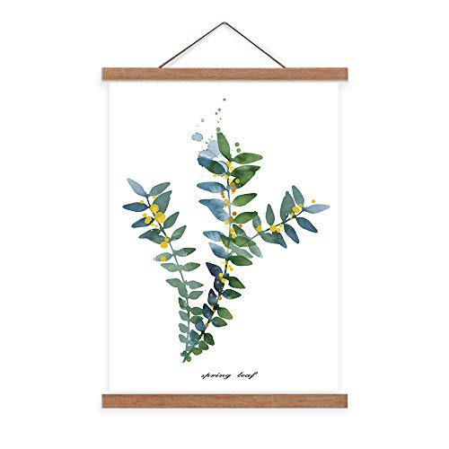 Abstract Canvas Wall Art - Watercolor Style Yellow Flowers Green Leaves Wall Picture Giclee Print Scroll Poster with Teak Wood Hanger Modern Home Decor Ready to Hang - 24x36