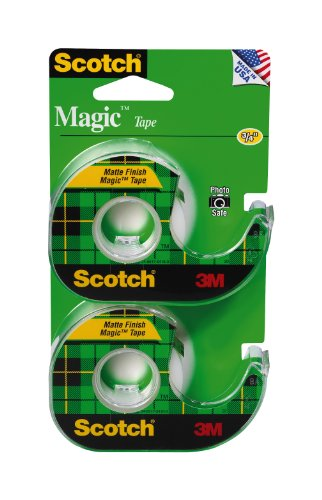 Scotch Brand Magic Tape, Narrow Width, Numerous Applications, Invisible, Trusted Favorite, Engineered for Office and Home Use, 1/2 x 750 Inches, 2 Dispensered Rolls (119SDM-2)
