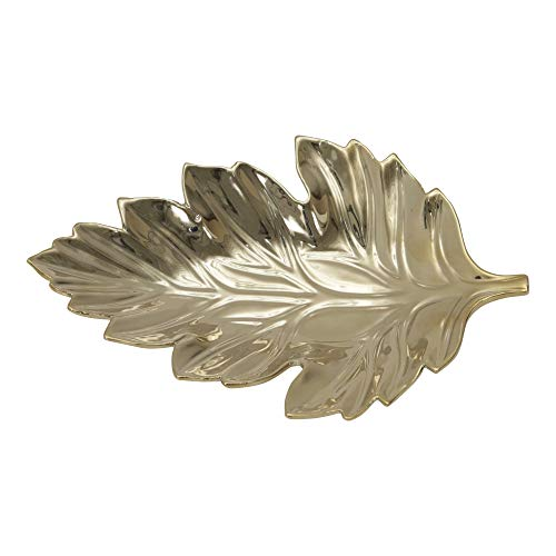 Sagebrook Home 12432-01 Decorative Ceramic Leaf Tray, Gold, 13 x 8.5 x 1.75 Inches,