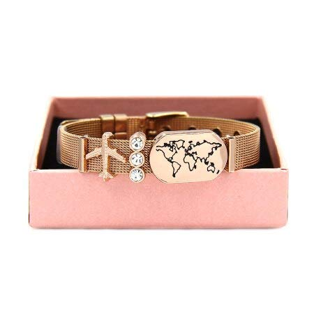 - Love Travel World Map Plane Compass Slide Charm Mesh Keeper Bracelets | Friendship Dream Graduation Bracelets | with Box