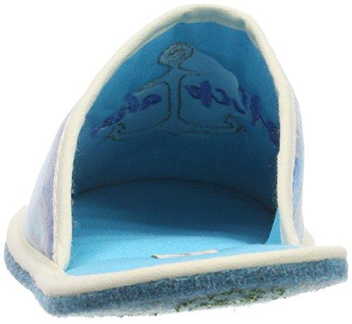Stoffpantoffel Pantoufles Glück Eisblau Adelheid 221 Bleu AHOI Femme aqEvt4w
