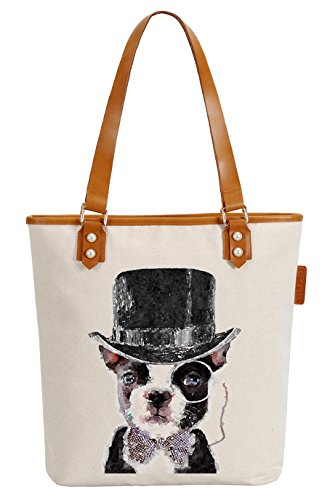 So'each Women's Mr Dog Art Paniting Canvas Tote Pearly Top Handle Shoulder Bag