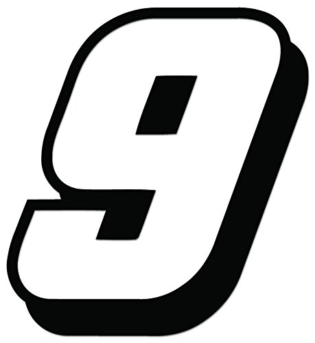 Racing Number 9 Nascar Indy Go Kart Style16 Vinyl Decal Sticker For Vehicle Car Truck Window Bumper Wall Decor - [20 inch/50 cm Tall] - Matte WHITE ()