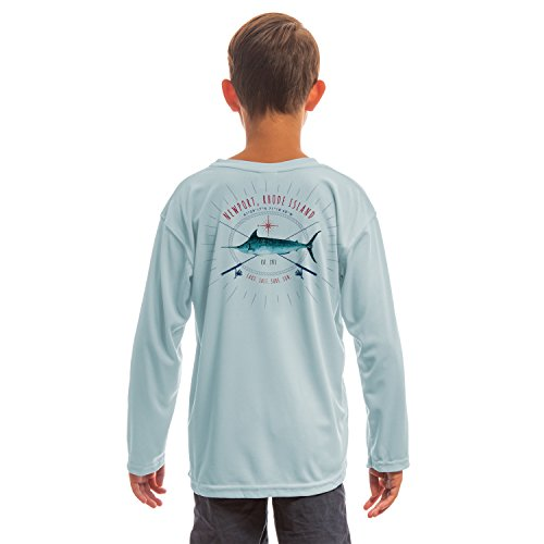 SAND.SALT.SURF.SUN. Marlin Rods Florida Youth UPF 50+ UV/Sun Protection Long Sleeve T-Shirt X-Large Arctic Blue