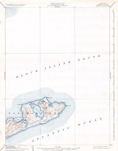 Long Island New York Antique - Art Oyster U.S.G.S. Map of Long Island, New York Montauk and Easthampton, 1904-42