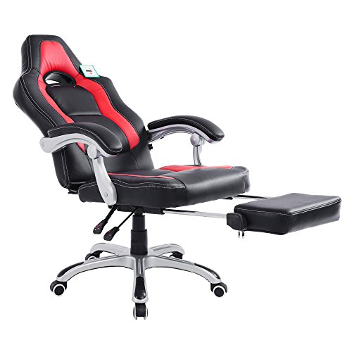 Acepro Reclining Chair Executive Racing Style Gaming Office Computer Versatile Desk Chair High Back with Footrest PU Leather 360 Degree Swivel Chair, Black and Red