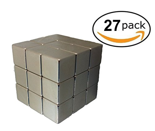 Strong Magnetic Tack Premium Pack of 27 10MM Square Cube Magnets in Brushed Nickel for Fridge, Office, Whiteboard, File Cabinets - Heavy Duty Secures Photos, Post Notes, Artwork, Keys without slipping by Aztec Designz