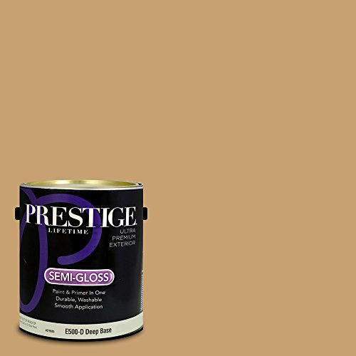Prestige Paints E500-D-3004-7CVP Exterior Paint and Primer in One, 1-Gallon, Semi-Gloss, Comparable Match of Valspar Buckskin Pony, 1 Gallon, VS97-Buckskin