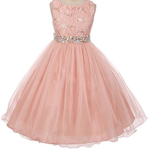 Big Girls Gorgeous Shiny Tulle Beaded Sequin Rhinestone Belt Flower Girl Dress Blush 8 (M3B4K0) -