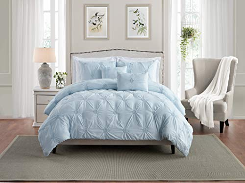 Swift Home Premium Bedding Set Collection 3-Piece Floral Ruched Pinch Pleat Pintuck Comforter Set - Full/Queen, Baby Blue (Light Bedding Blue Floral)