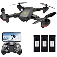 Teeggi XS809HW FPV RC Drone with WiFi HD 120°Wide-angle Camera Live Video Training Quadcopter for Beginners with Altitude Hold One Key Start/Landing/Return Easy Operation Bonus Battery with SD Card