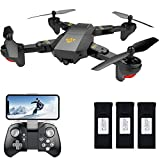 Teeggi FPV RC Drone with Camera Live Video, VISUO XS809HW WiFi Quadcopter with 720P HD 2MP 120° Wide-Angle Camera Altitude Hold, Headless Mode, One Key Return, APP Control Toys for Kids & Beginners