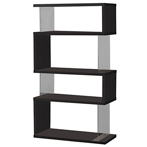 - Asymmetrical Snaking Bookcase Black and Clear