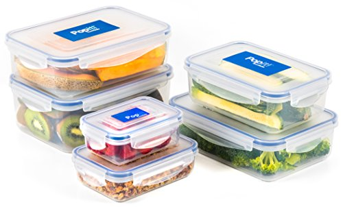 Large Airtight Food Storage Containers - 12 Piece Set, Stackable, BPA Free Plastic, 100% Leak Proof - Microwave, Freezer & Dishwasher Safe - The Stackit! Set, by Popit!