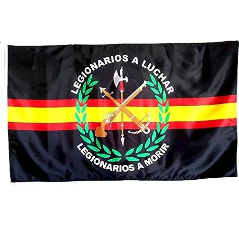 Bandera de España de Legion Negro 150 x 90 cm Satén Durabol: Amazon.es: Deportes y aire libre