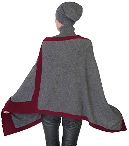 cashmere 4 U 100% Cashmere Poncho Asymmetrical Boat Neck Wraps For Women by cashmere 4 U (Image #1)