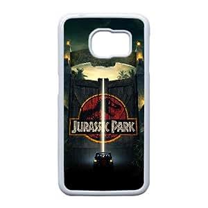 Parque Jurásico alta resolución cartel Samsung Galaxy S6 Edge caja del teléfono celular funda blanca del teléfono celular Funda Cubierta EEECBCAAK72280