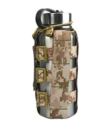 JFFCESTORE Minimalist Adjustable MOLLE Water Bottle Holder Kettle Pouch Belt Bottle Carrier for 17-84 Oz Water Bottle (Desert Digital)