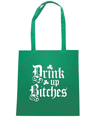 FUNNY DRINK UP Verde Shirt BITCHES Speed Borsa IRISH TIR0035 Shopper RqSgT