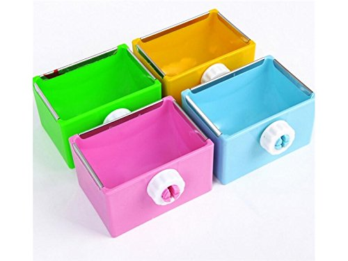 Yunqir Suitable Bird Hanging Square Food Container Food Feeding Dish Water Seed Feeder Bowl for Parrot Finch Pigeons-Pink
