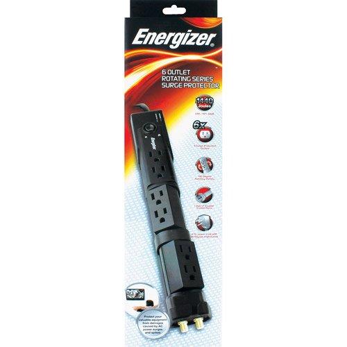 Premier Energizer 6 Outlet Rotating Surge Protector - Black
