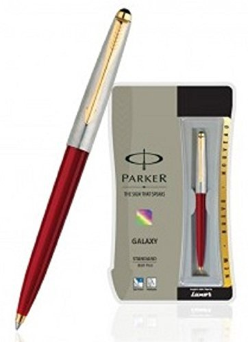 PARKER Galaxy Standard Ball Pen With Gold Plated Clip (Blue Ink - Red Body)