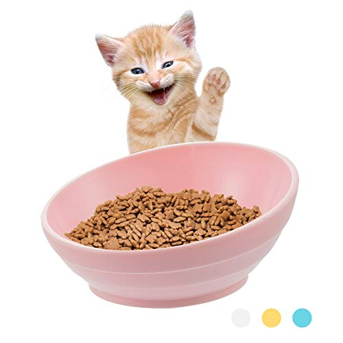 Urijk Slanted Cat Food Dish No Spill, Tilt Bowl with Anti Skid Rubber Base for Kitty Kitten, Anti Spill Water Bowl Dish Mess Proof Wide Mouth, Pet Cat Feeding Watering Supplies