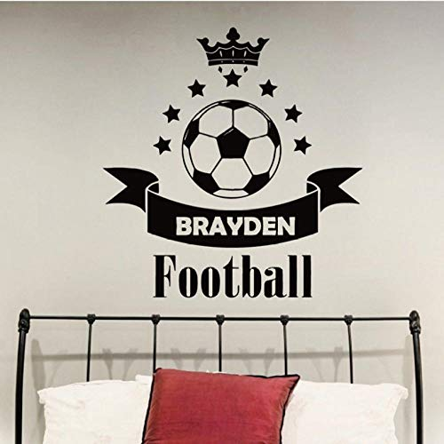 (xiaomeihao Soccer Football Custom Name Vinyl Wall Sticker Football Crown Stars Wall Decal Personalized Name Boys Room Decoration 57X60Cm)