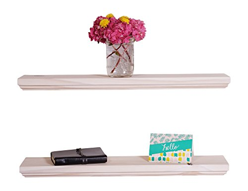 DAKODA LOVE Routed Edge Floating Shelves, USA Handmade, White Stain Finish, 100% Countersunk Hidden Floating Shelf Brackets, Beautiful Grain Pine Wood Wall Decor (Set of 2) (24