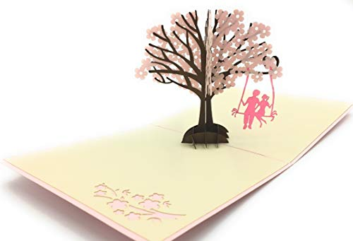 Cherry Blossom 3D Pop Up Card - Romantic Card to celebrate your loved ones. Ideal for couples anniversaries, weddings and boyfriends in love
