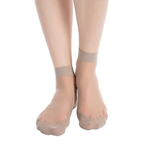 Stocking Fox Women's 3-Pack 15-Denier Silky Anti-Slip Sheer Ankle Sock