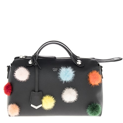 Fendi Women's By The Way Handbag with Multi-color Fur Pom Poms Appliques Black