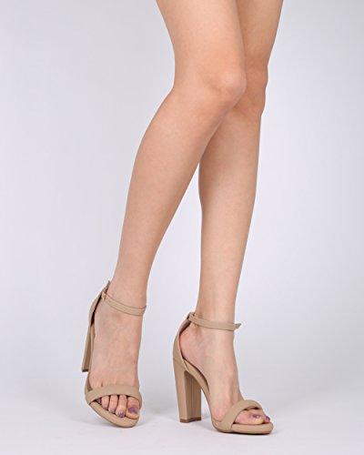 Alrisco Women Open Toe Ankle Strap Block Heel Sandal - HG90 by Mark Maddux Collection Nude Nubuck QzN2Va