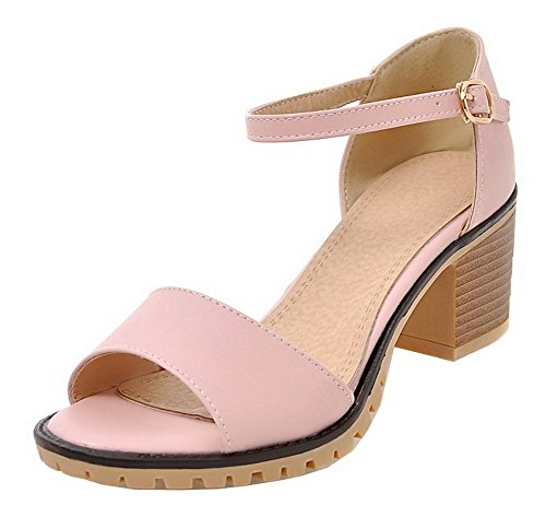 VogueZone009 Women PU Buckle Open-Toe Kitten-Heels Solid Sandals Pink