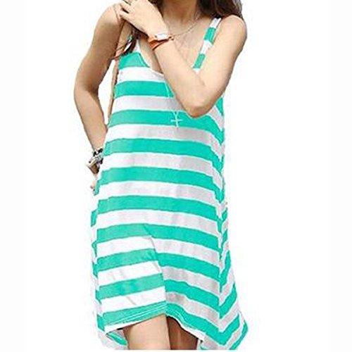 Hee Grand Damen Armlos Streifen Abendkleid Strand Kleid Grün iH1bWNU6h