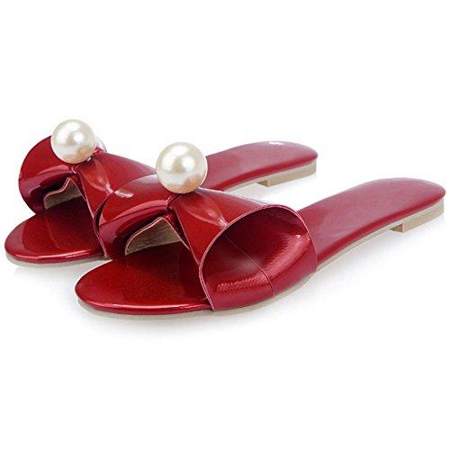 TAOFFEN Mules Red Femmes Sandales Plates nHn7q4