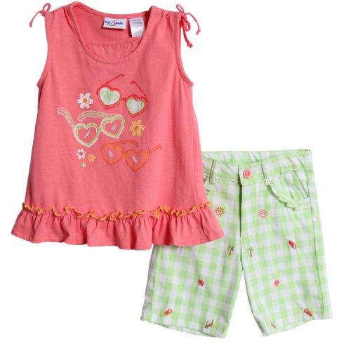 BT Kids Baby Girls' 2 Piece Coral Sleeveless Top Plaid Bermuda Shorts Set