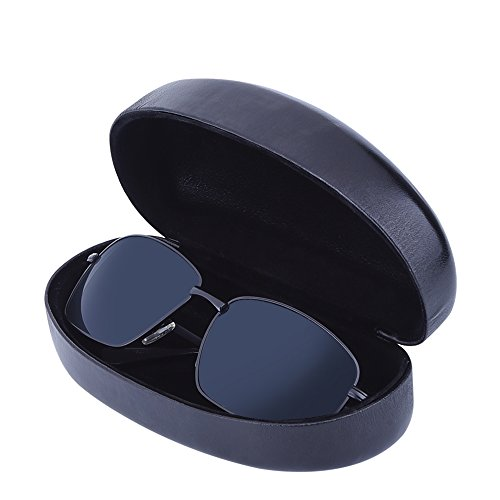 Antner Extra Large Eyeglasses Case and Microfiber Cloth Set, Protective Hard Shell for Glasses and Sunglasses,Black