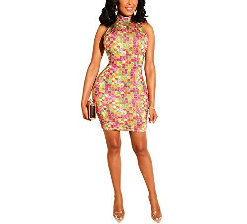 (JUNBOON Women Elegant Mini Dress Plaid Rhinestone Patchwork Bodycon Party Dress)